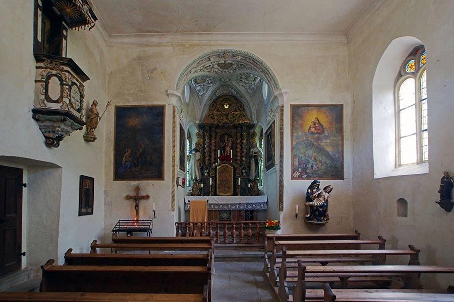 Innenansicht der Wallfahrtskirche Frauenberg bei Bodman