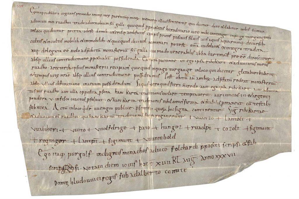 Erste urkundliche Erwähnung von Brütten 876